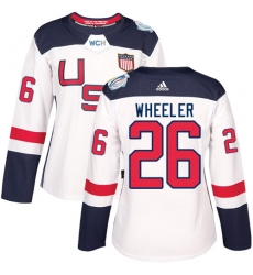 Women's Adidas Team USA #26 Blake Wheeler Authentic White Home 2016 World Cup Hockey Jersey