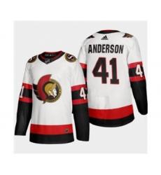Men's Ottawa Senators #41 Craig Anderson White 2020-21 Authentic Player Away Stitched Hockey Jersey