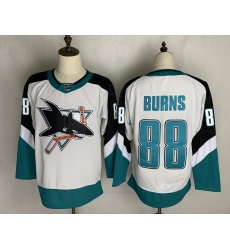 Men's San Jose Sharks #88 Brent Burns Authentic White Away Jersey
