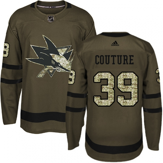 51cb4d9cd25 Youth Adidas San Jose Sharks #39 Logan Couture Authentic Green Salute to  Service NHL Jersey
