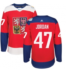 Men's Adidas Team Czech Republic #47 Michal Jordan Authentic Red Away 2016 World Cup of Hockey Jersey