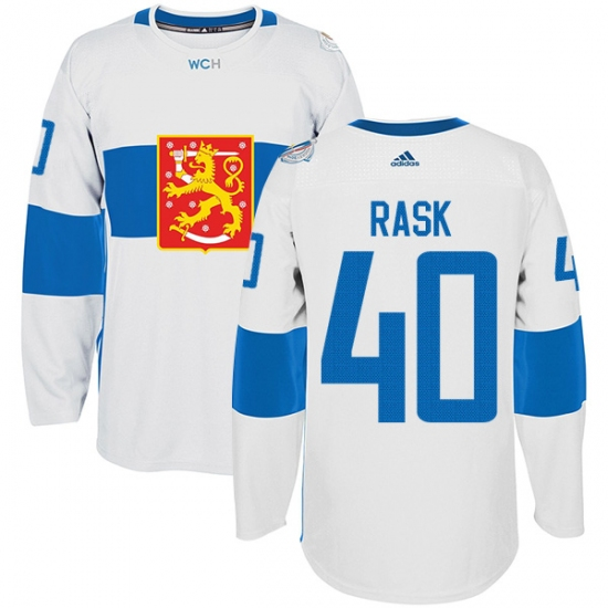 promo code 69a68 520ab Men's Adidas Team Finland #40 Tuukka Rask Premier White Home ...