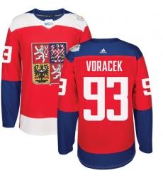 Men's Adidas Team Czech Republic #93 Jakub Voracek Authentic Red Away 2016 World Cup of Hockey Jersey