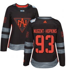 Women's Adidas Team North America #93 Ryan Nugent-Hopkins Authentic Black Away 2016 World Cup of Hockey Jersey