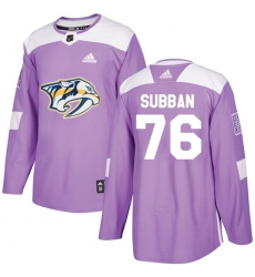 Men's Adidas Nashville Predators #76 P.K Subban Authentic Purple Fights Cancer Practice NHL Jersey