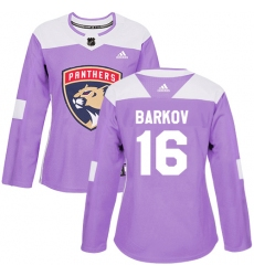 Women's Adidas Florida Panthers #16 Aleksander Barkov Authentic Purple Fights Cancer Practice NHL Jersey
