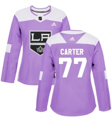 Women's Adidas Los Angeles Kings #77 Jeff Carter Authentic Purple Fights Cancer Practice NHL Jersey