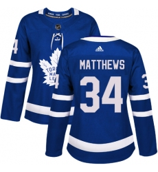 Women's Adidas Toronto Maple Leafs #34 Auston Matthews Authentic Royal Blue Home NHL Jersey