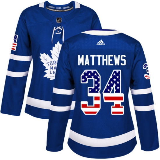 Women s Adidas Toronto Maple Leafs  34 Auston Matthews Authentic Royal Blue  USA Flag Fashion NHL f47fc7147
