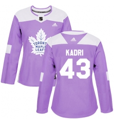 Women's Adidas Toronto Maple Leafs #43 Nazem Kadri Authentic Purple Fights Cancer Practice NHL Jersey