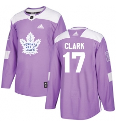 Men's Adidas Toronto Maple Leafs #17 Wendel Clark Authentic Purple Fights Cancer Practice NHL Jersey