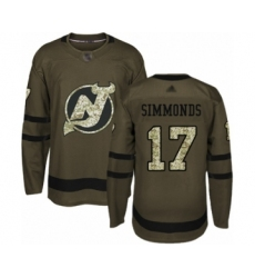 Men's New Jersey Devils #17 Wayne Simmonds Authentic Green Salute to Service Hockey Jersey