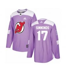 Men's New Jersey Devils #17 Wayne Simmonds Authentic Purple Fights Cancer Practice Hockey Jersey