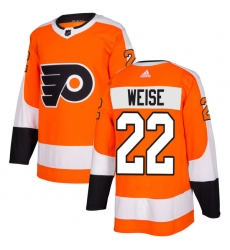 Men's Adidas Philadelphia Flyers #22 Dale Weise Authentic Orange Home NHL Jersey