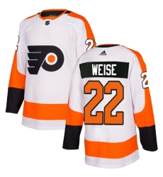 Men's Adidas Philadelphia Flyers #22 Dale Weise Authentic White Away NHL Jersey