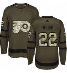 Men's Adidas Philadelphia Flyers #22 Dale Weise Premier Green Salute to Service NHL Jersey