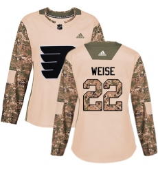 Women's Adidas Philadelphia Flyers #22 Dale Weise Authentic Camo Veterans Day Practice NHL Jersey