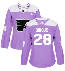 Women's Adidas Philadelphia Flyers #28 Claude Giroux Authentic Purple Fights Cancer Practice NHL Jersey