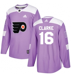 Men's Adidas Philadelphia Flyers #16 Bobby Clarke Authentic Purple Fights Cancer Practice NHL Jersey