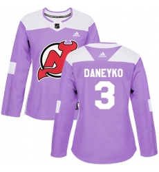Women's Adidas New Jersey Devils #3 Ken Daneyko Authentic Purple Fights Cancer Practice NHL Jersey