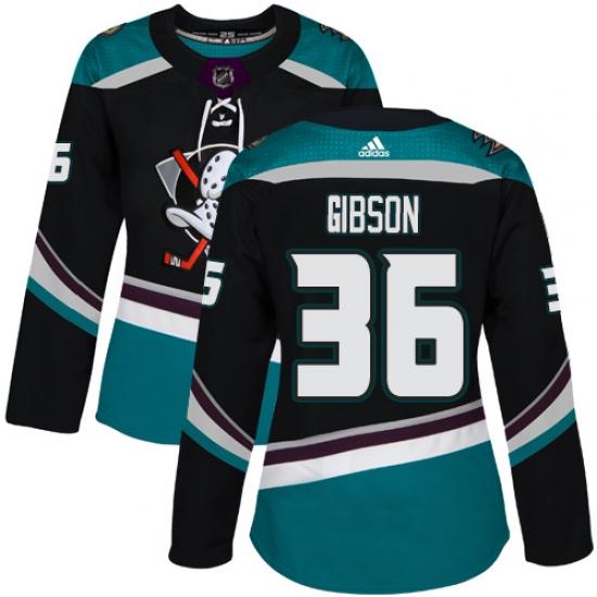 b86694cb4d4 Women's Adidas Anaheim Ducks #36 John Gibson Authentic Black Teal Third NHL  Jersey