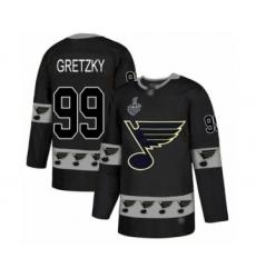Men's St. Louis Blues #99 Wayne Gretzky Authentic Black Team Logo Fashion 2019 Stanley Cup Final Bound Hockey Jersey