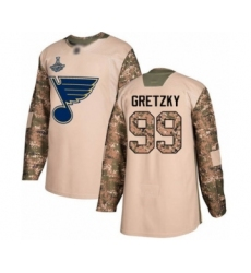Youth St. Louis Blues #99 Wayne Gretzky Authentic Camo Veterans Day Practice 2019 Stanley Cup Champions Hockey Jersey