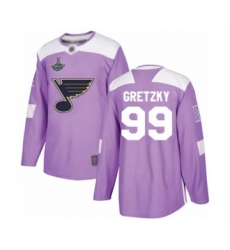 Youth St. Louis Blues #99 Wayne Gretzky Authentic Purple Fights Cancer Practice 2019 Stanley Cup Champions Hockey Jersey
