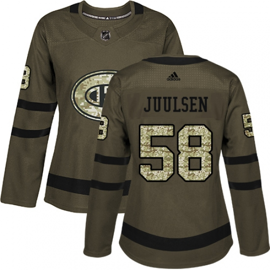 f9b34e776 Women s Adidas Montreal Canadiens  58 Noah Juulsen Authentic Green Salute to  Service NHL Jersey