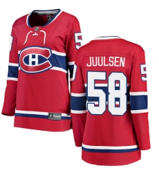 d5e20ff65 Women s Montreal Canadiens  58 Noah Juulsen Authentic Red Home Fanatics  Branded Breakaway NHL Jersey