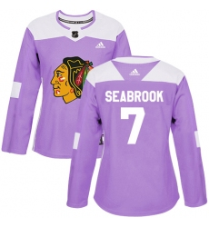 Women's Adidas Chicago Blackhawks #7 Brent Seabrook Authentic Purple Fights Cancer Practice NHL Jersey