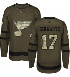 4624b5927 Youth Adidas St. Louis Blues  17 Jaden Schwartz Authentic Green Salute to  Service NHL