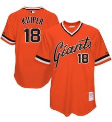 Men's Mitchell and Ness San Francisco Giants #18 Duane Kuiper Replica Orange Throwback MLB Jersey