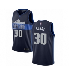 Men's Dallas Mavericks #30 Seth Curry Authentic Navy Blue Basketball Jersey Statement Edition