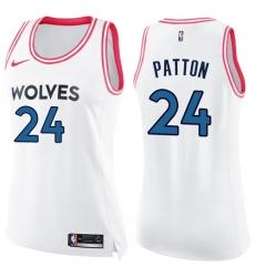 7dc335b4f49 Women s Nike Minnesota Timberwolves  24 Justin Patton Swingman White Pink  Fashion NBA Jersey