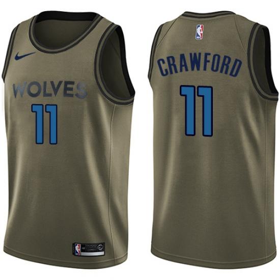 Youth Nike Minnesota Timberwolves  11 Jamal Crawford Swingman Green Salute  to Service NBA Jersey 47e49e044