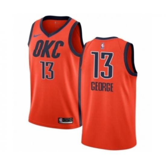 new style 6d22d ab840 Men's Nike Oklahoma City Thunder #13 Paul George Orange ...