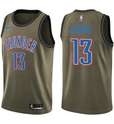 6191b38da353 Men s Nike Oklahoma City Thunder  13 Paul George Swingman Green Salute to  Service NBA Jersey