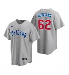 Men's Nike Chicago Cubs #62 Jose Quintana Gray Road Stitched Baseball Jersey