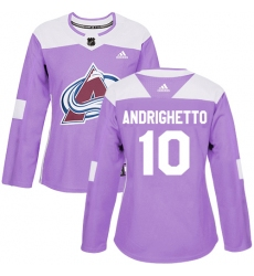 Women's Adidas Colorado Avalanche #10 Sven Andrighetto Authentic Purple Fights Cancer Practice NHL Jersey