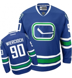 Men's Reebok Vancouver Canucks #90 Patrick Wiercioch Authentic Royal Blue Third NHL Jersey