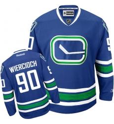 Men's Reebok Vancouver Canucks #90 Patrick Wiercioch Authentic Royal Blue Third NHL Jersey