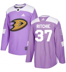 Men's Adidas Anaheim Ducks #37 Nick Ritchie Authentic Purple Fights Cancer Practice NHL Jersey