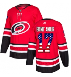 Men's Adidas Carolina Hurricanes #17 Rod Brind'Amour Authentic Red USA Flag Fashion NHL Jersey