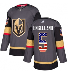 Men's Adidas Vegas Golden Knights #5 Deryk Engelland Authentic Gray USA Flag Fashion NHL Jersey