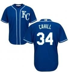 Men's Majestic Kansas City Royals #34 Trevor Cahill Replica Blue Alternate 2 Cool Base MLB Jersey