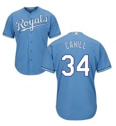 Men's Majestic Kansas City Royals #34 Trevor Cahill Replica Light Blue Alternate 1 Cool Base MLB Jersey