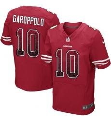 Men's Nike San Francisco 49ers #10 Jimmy Garoppolo Elite Red Home Drift Fashion NFL Jersey