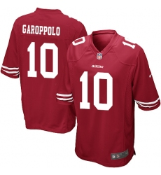 Men's Nike San Francisco 49ers #10 Jimmy Garoppolo Game Red Team Color NFL Jersey
