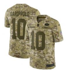 Men's Nike San Francisco 49ers #10 Jimmy Garoppolo Limited Camo 2018 Salute to Service NFL Jersey